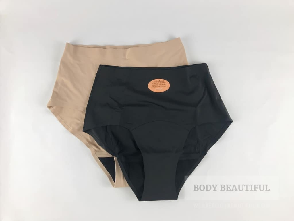 Photo of the tan and black seam free full brief from Modibodi