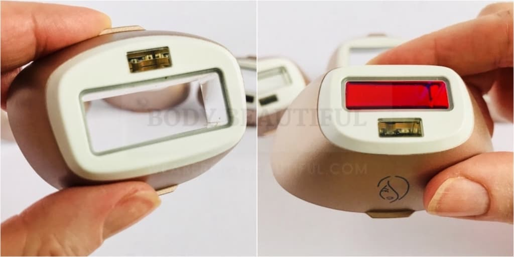 The large curved-in body flash window and small flat window for face