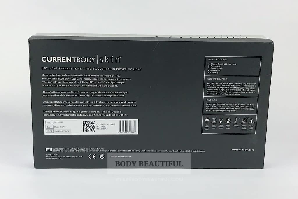 Black back of the CurrentBody.com Skin LED light therapy mask box