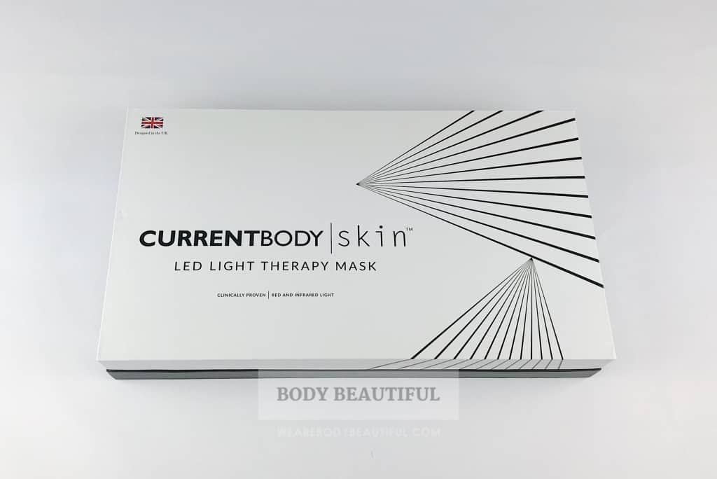 Neat black and white CurrentBody.com SkinLED light therapy mask packaging