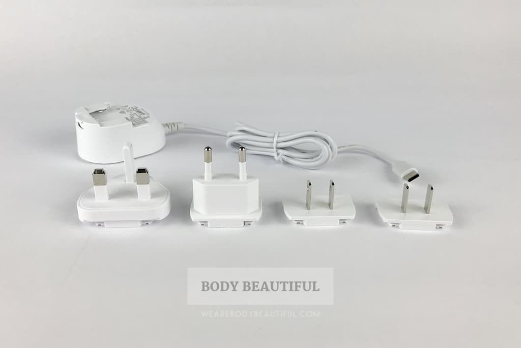The CurrentBody.com Skin LED light therapy mask comes with 4 different country mains plugs