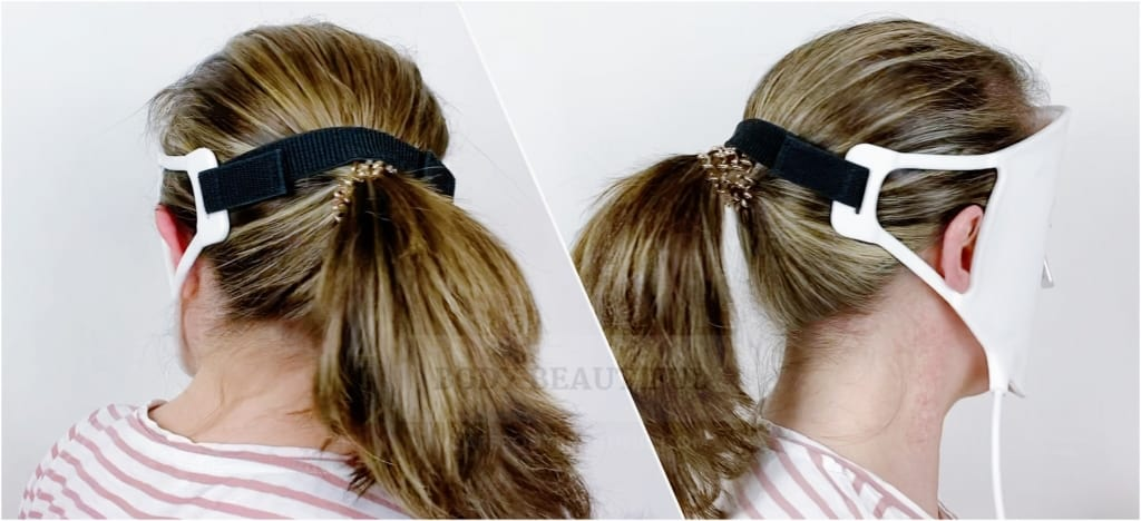 Use your ponytail to position the velcro strap and stop the Current Body LED mask slipping down .