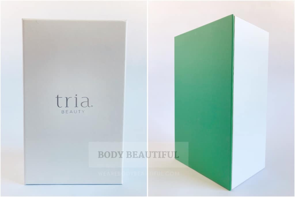 photos of the inner white land green box with 'Tria' logo on the lid.