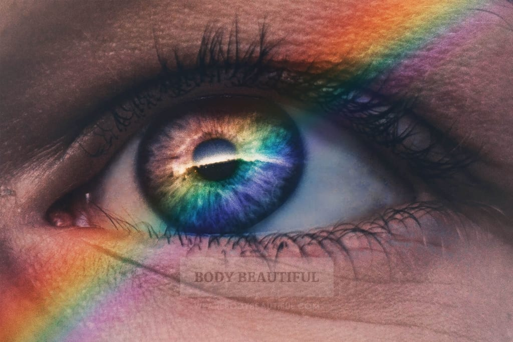 A human eye can see all the colours in the rainbow.