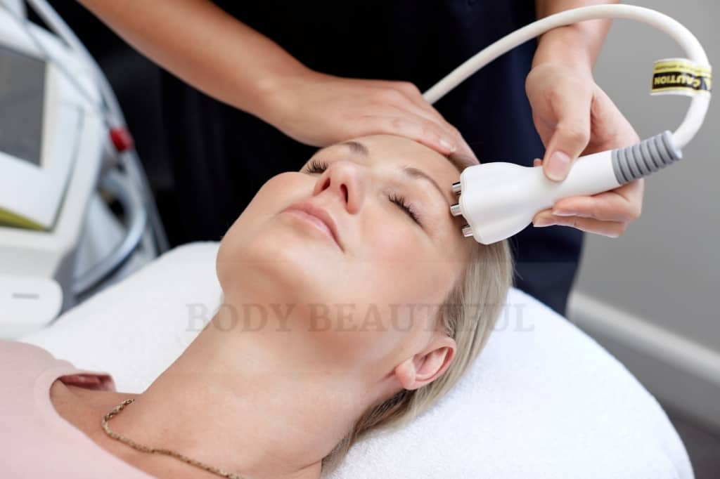 Bipolar Radio Frequency applied to the face to tighten skin.