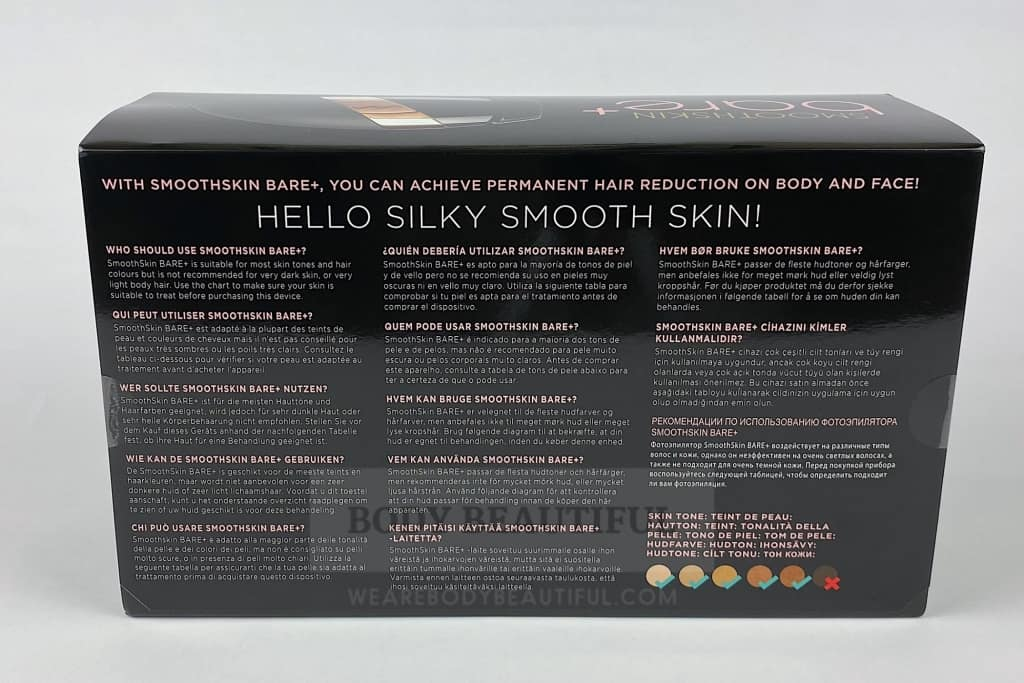 the back of the info sleeve on the Smoothskin Bare+ box