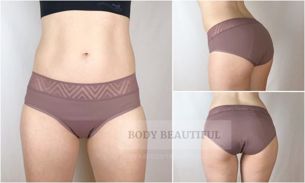 Front, back and side shot of me wearing Thinx period pants.