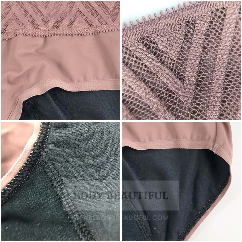 Close-up detail of the fabric and finishing on Thinx Hiphugger underwear.