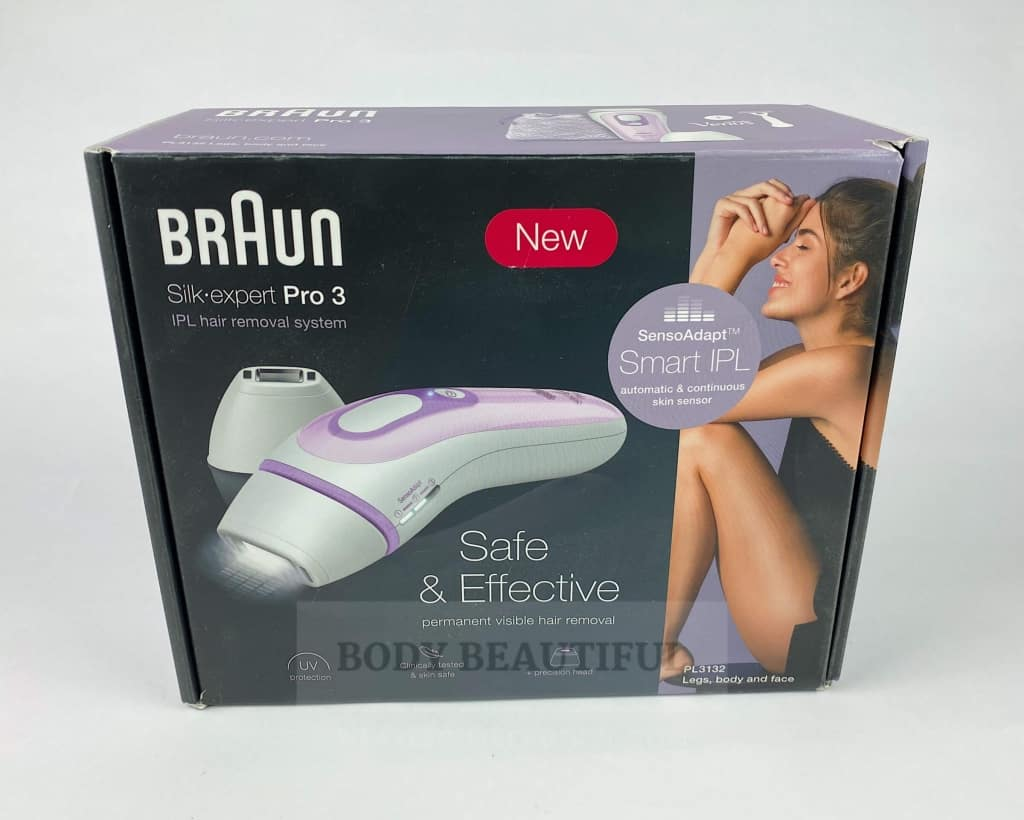 Front of the neat and attractive Braun Pro 3 home IPL hair removal ox