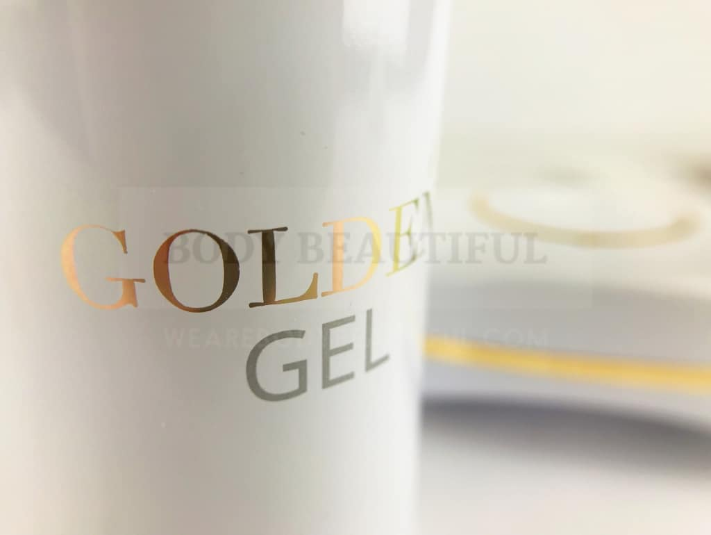 Close up of the Gold gel container - the gel inside is pricey!