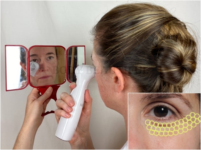 A handheld mirror smmall vanity mirror is helpful for safe and precise flashes with the NIRA laser.