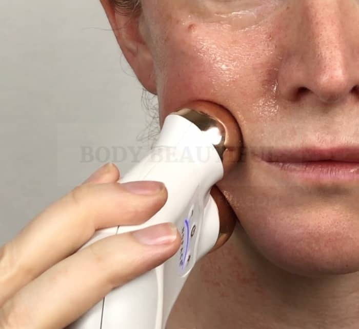 A conductive gel helps the microcurrent spheres on the Nuface glide over your skin