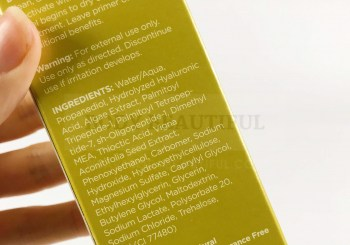 close upphoto of the ingredientslist on the Nuface Gold 24K firmming gel