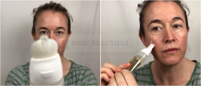 applying the Nuface Gold primer gel using the built in applicator brush in the squeezy tube