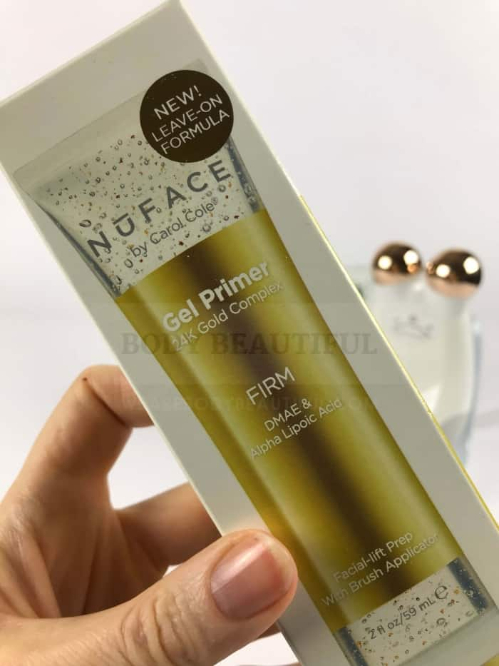 Box containing the small, expensive and lush 24K gold Firming primer gel