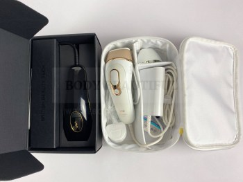 Inside the Pure's box and the Braun Pro 5's storage pouch