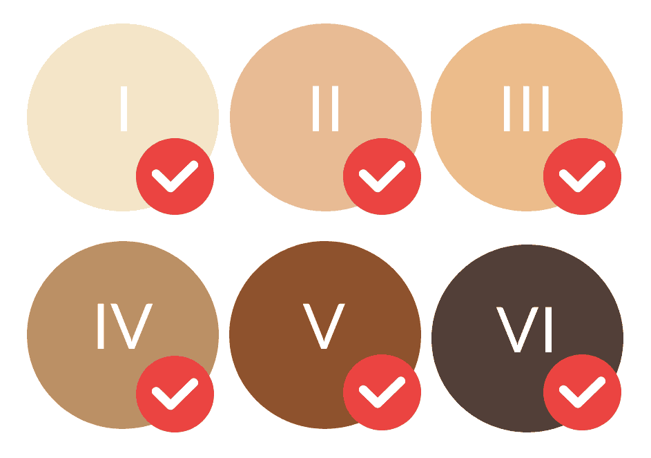 Safe for all skin tones, light to the very darkest