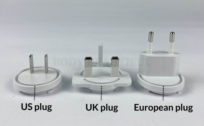 The three mains plugs (US, UK & European) with the Tripollar V device