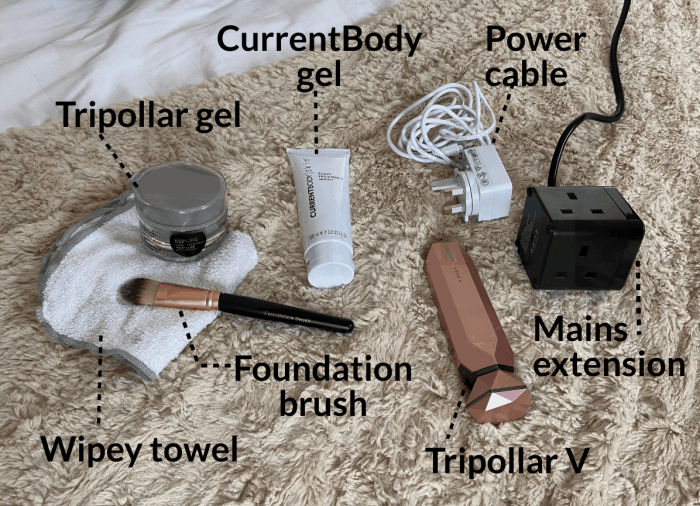 Tripollar or CurrentBody prep gel, foundation brush and wipey towel, power cable and mains extension, and the Tripollar V device.