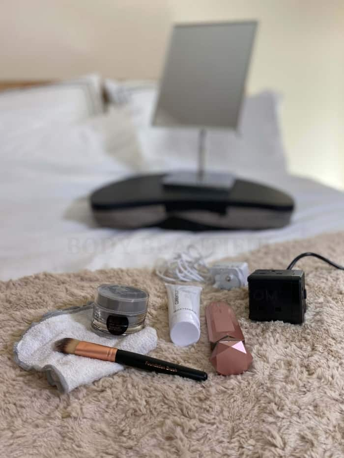 My set up on my bed for my Tripollar V evening routine