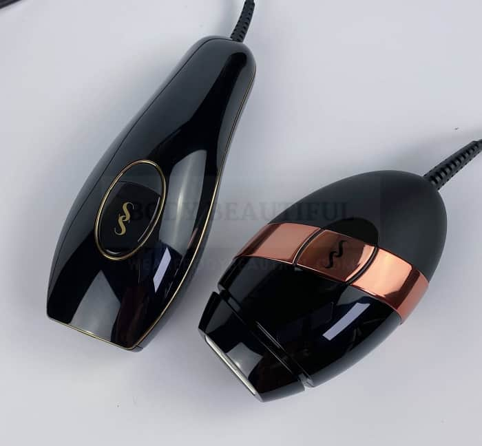 Pure is styled in sleek glossy black with gold trim, & the Bare+ in sleek black wityh a rose-gold band, and a grippy silicone base.