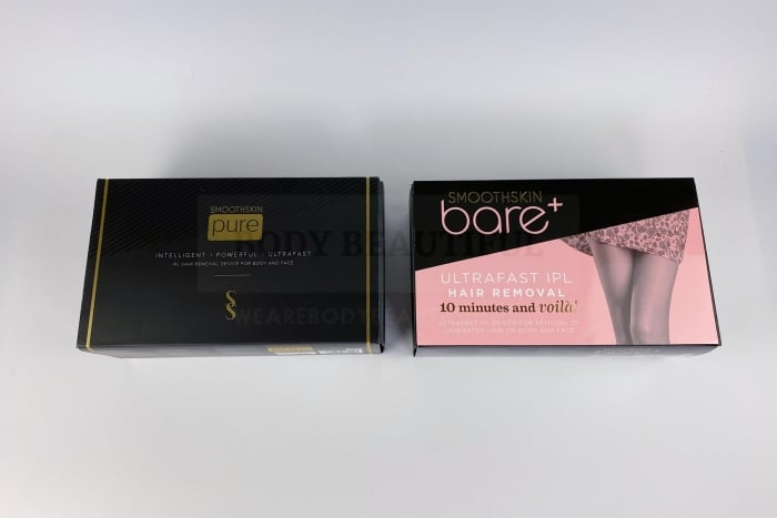 The Smoothskin Pure & Smoothskin Bare+ boxes side by side