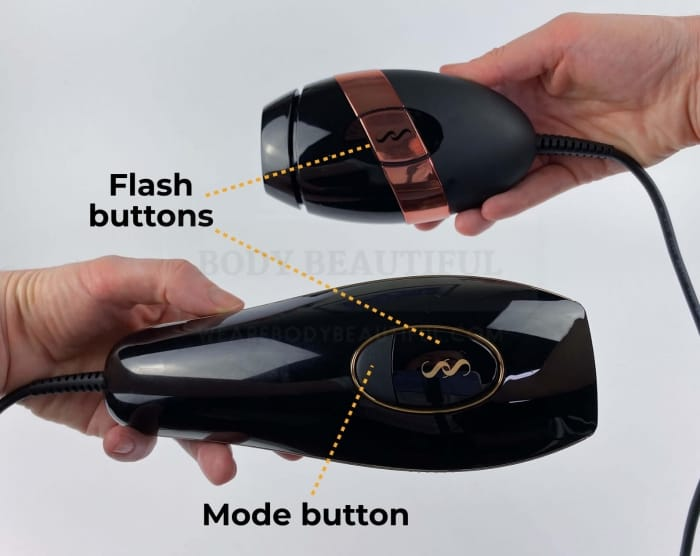 Flash buttons labelled on the Pure & Bare+, and the additional mode button on the Pure too below the flash button