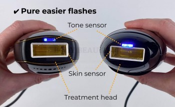Close up of the treatment heads on the Pure and Bare+ showing the tone sensor, skin contact sensor and shape of the treatment heads.