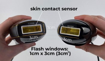 Photo of the Pure and Bare+ labelled with the white skin contact sensors around the flash window and the size of the flash window
