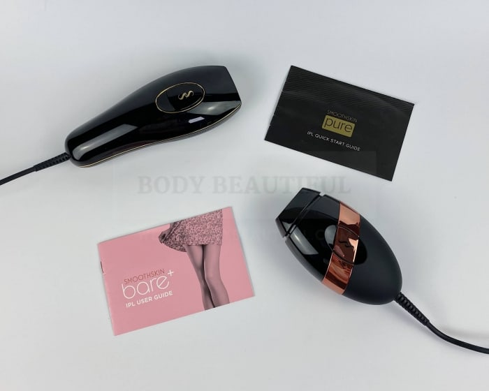 You get a black quick start booklet with the Smoothskin Pure and a pink user guide with the Bare+.