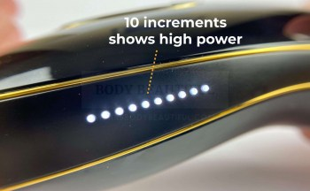 10 white lights on the Pure power bar show the highest IPL intensity level is matched to your skin tone and is ready to flash