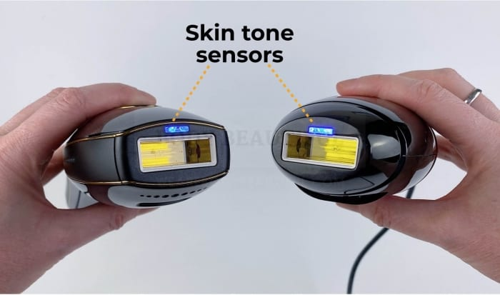 Pure & Bare+ treatment heads labelled wih the illuminated blue skin tone sensors