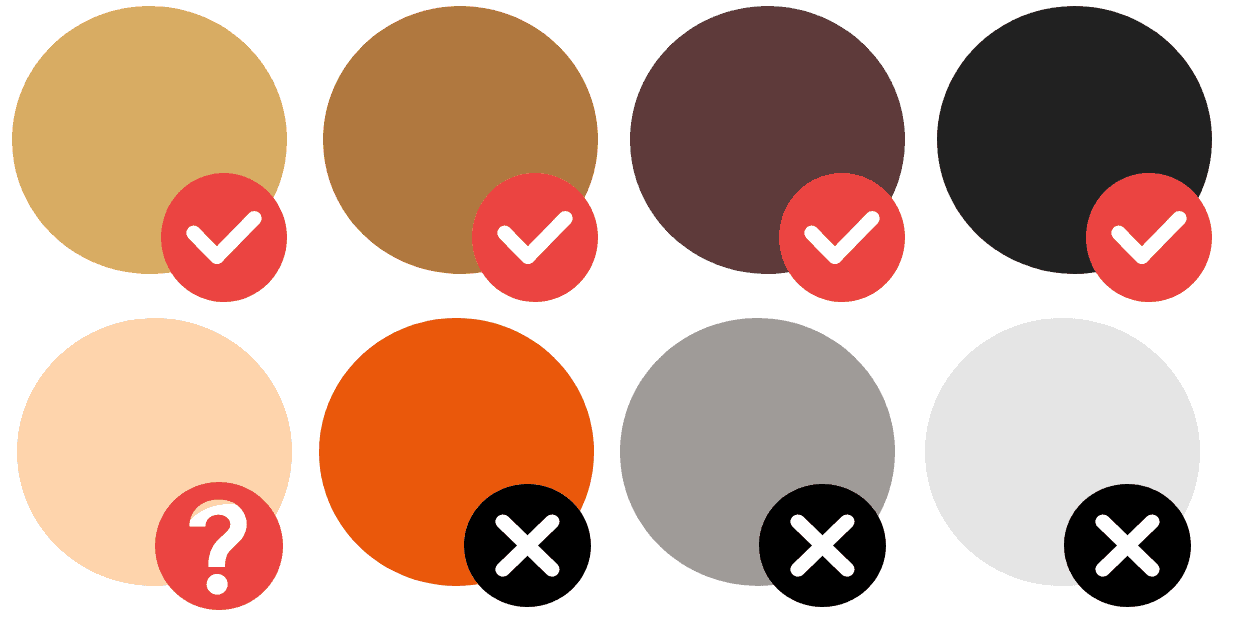 Works on black, dark brown, mid-brown, and dark blonde hair colours. May work on light blonde hair (if it's not white-blonde).