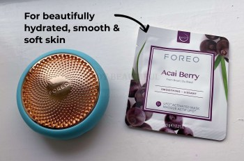 UFO 2 next to a sachet of the Acia Berry mask which leaves you skin beautifully hydrated, smooth and soft