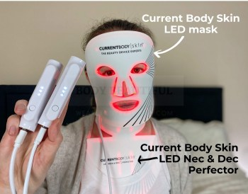 It's me! wearing the CurrentBody Skin LED face mask and Nec & Dec Perfector for my WeAreBodyBeautiful review