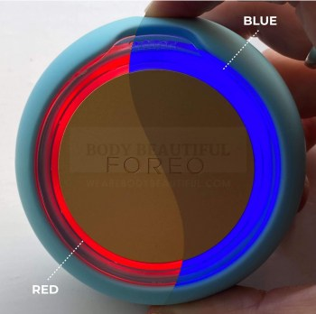 red and blue LED lights on the FOREO UFO 2 erged into one ring