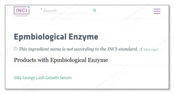 incidecoder page showing EPMbiological enzyme is not an INCI standard name
