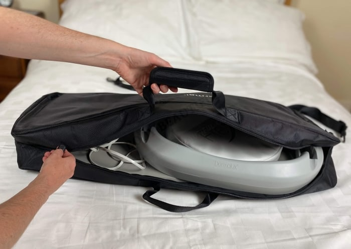 The Flex MD fits neat in the protective storage bag. Ensure the bag lays on its side with the panel on the bottom!