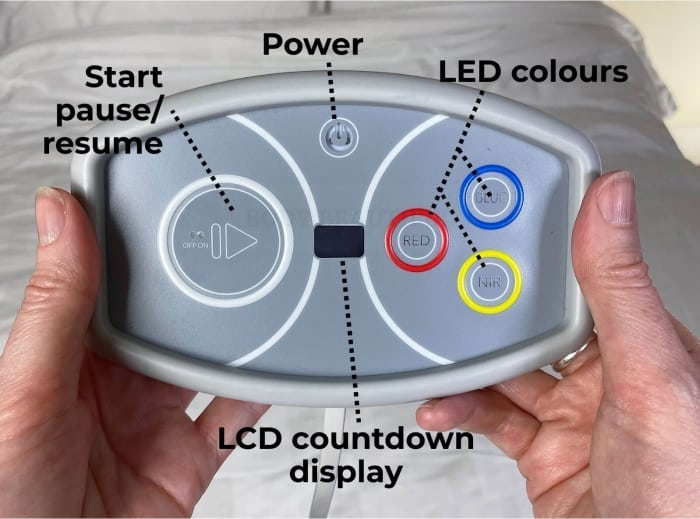The simply touch controls on the Flex MD controller: Power button, start/pause/resume button, x3 LED colours buttons, LCD countdown display
