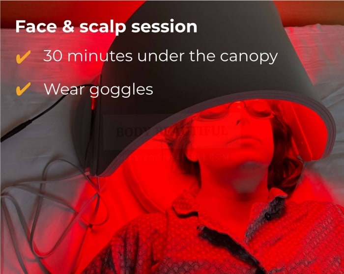 For a 30-minute face & scalp session with the Flex MD, wear the goggles