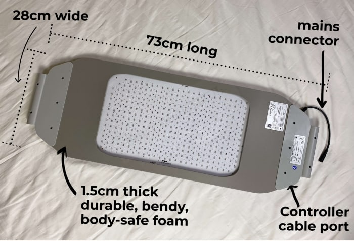 The Flex MD LED panel is 73cm long, 28cm wide, 1.5cm thick with a short black mains power cable connector and controller cable port