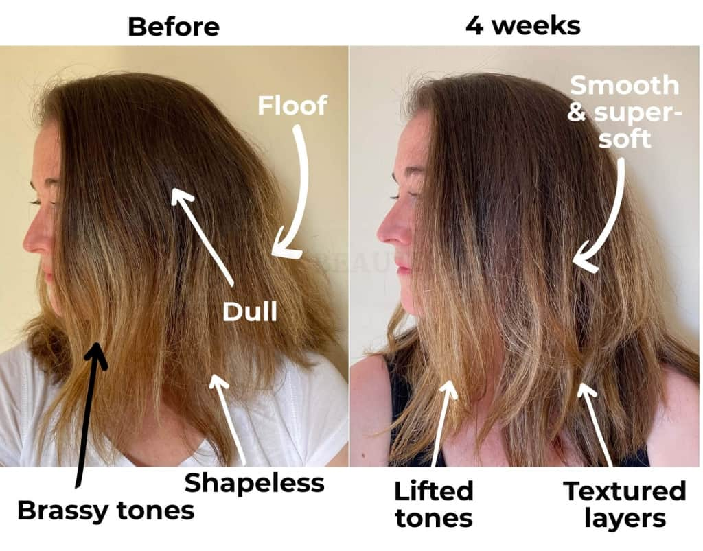 My hair before (with bottled shampoo) versus 4 wks of Goddess Glow side view: My hair is smooth and much less frizzy, with defined & textured layers, lifted blonde, and beautiful touchable softness. This is good.