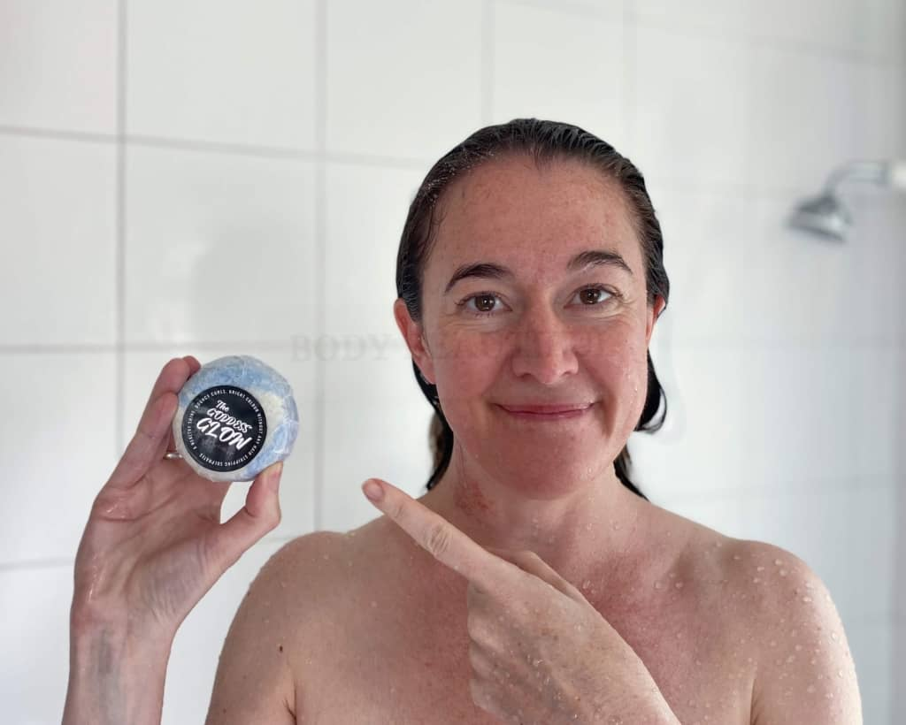 Here I am in my shower with my bar of The Goddess Glow shampoo