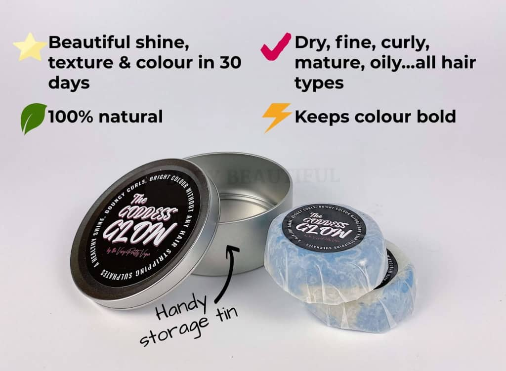 What does Goddess Glow do? It's 100% natural, Gives beautiful shine, texture & colour in 30 days, It's for dry, fine, thick, curly, mature, oily…all hair types!,  Keeps colour bold, and you can get a handy storage tin!